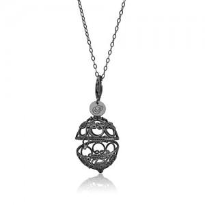 Priesme Change your Style vedhæng i sort rhodineret 925 Sterling sølv med plads til stor fantastisk kugle med Swarovski krystaller i de farver de ønsker