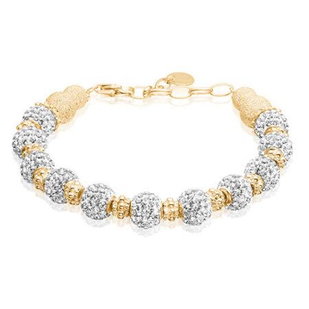 Armbånd af Priesme med mange smukke kugler med Swarovski krystaller i helt klare diamant lignende farve