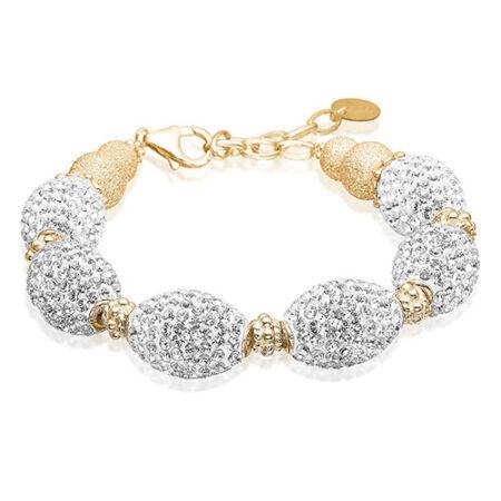 Armbånd fra Priesme smykker med store flotte ovale kugler med klare Swarovski krystaller