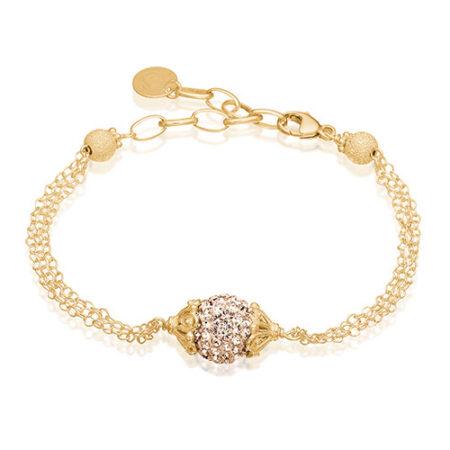 Armbånd fra Priesme med den fineste lille søde kugle med smukke pudderfarvede Swarovski krystaller, der funkler som ædelsten