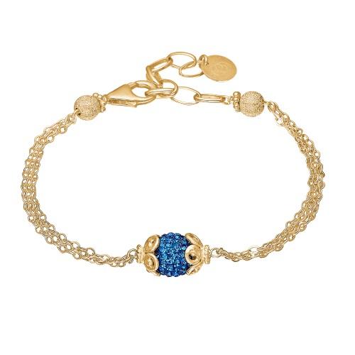 Priesme Blues armbånd. 24 karat forgyldt (925 Sterling sølv) armbånd med safir blå Swarovski