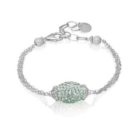 Priesme armbånd. Elegant armbånd i Sterling sølv med smukke mint Swarovski sten