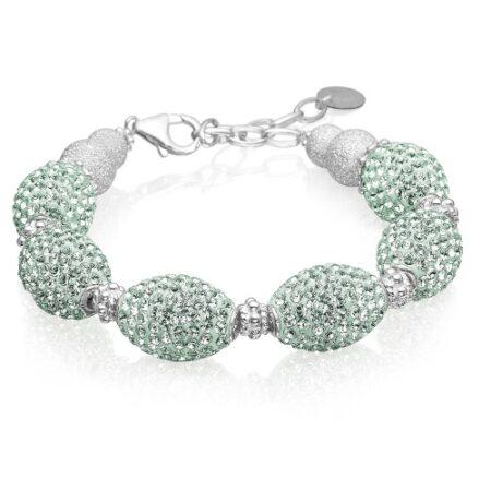 Armbånd - Priesme armbånd i 925 Sterling sølv med mint farvede Swarovski krystaller