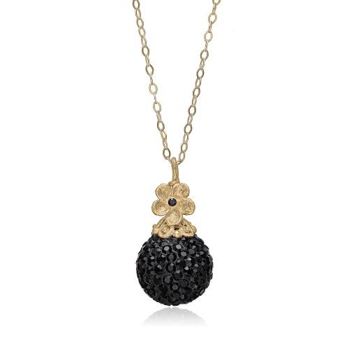 Priesme Black Swan halskæde i 925 forgyldt Sterling sølv med Swarovski krystaller og blomst