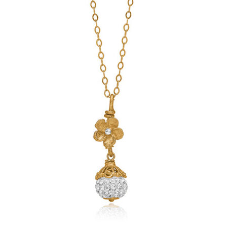 Armbånd fra Priesme med helt klare Swarovski krystaller, der funkler som diamenter. Armbåndet er i forgyldt sølv