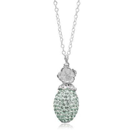 Fantastisk halskæde fra Priesme smykker i 925 Sterling sølv med mint farvede Swarovski krystaller
