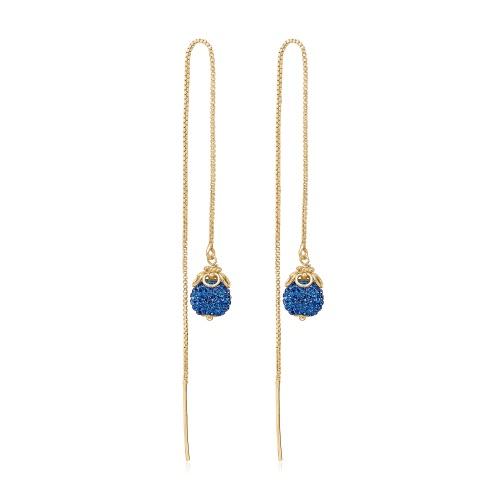 Priesme Blues øretråde i 24 karat Sterling sølv med safir blå Swarovski