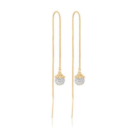 Priesme øretråde med elegante kugler med Swarovski krystaller. Disse øretråde er i forgyldt 925 Sterling sølv