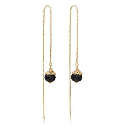 Priesme Black Swan øretråde i 925 Sterling sølv med sorte Swarovski krystaller