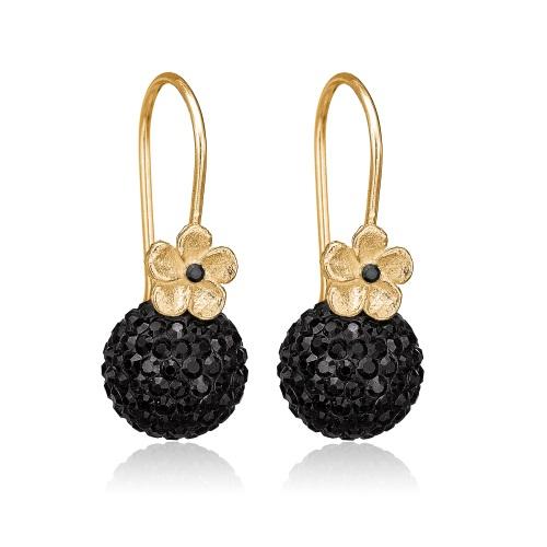 Priesme Black Swan øreringe med smukke blomster og sorte kugler med Swarovski krystaller