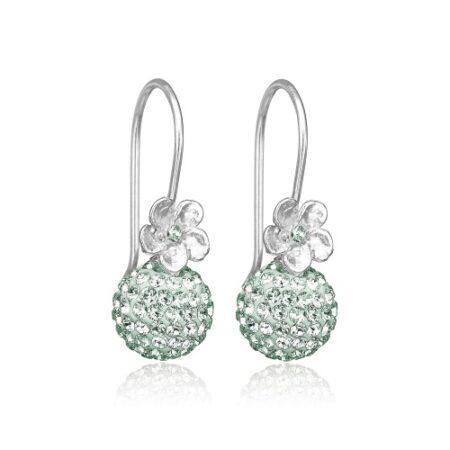 Øreringe i Sterling sølv med mint Swarovski krystaller