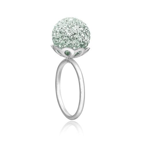 Smuk ring fra Priesme i Sterling sølv med mint Swarovski