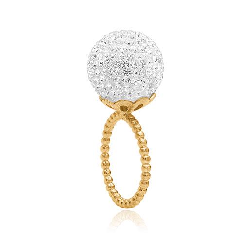 ring fra Priesme i forgyldt sølv med helt klare diamant lignende krystaller