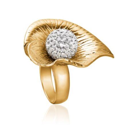 Priesme lilje ring - enestående ring i forgyldt sølv med stor kugle med Swarovski krystaller. Fantastisk smuk og eksklusiv ring