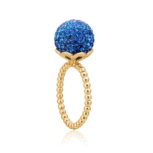 Priesme Blues ring med Swarovski krystaller i en smuk kugle. Ringen er i 24 karat forgyldt sølv