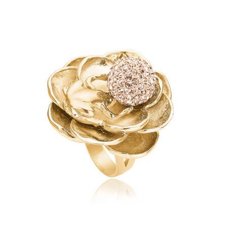 Ring fra Priesme med sød frø der holder en kugle med pudder farvede Swarovski krystaller. Denne ring er udført i 24 karat forgyldt 925 Sterling sølv
