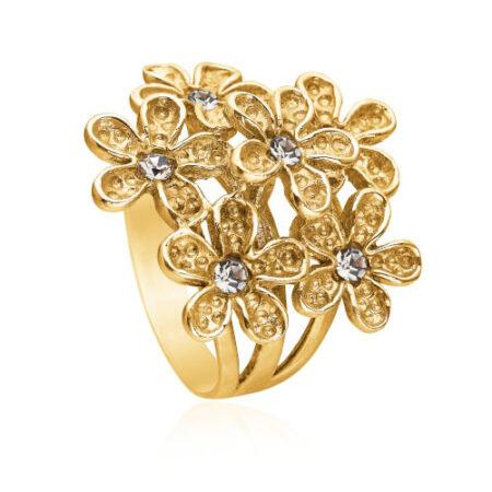 Ring med blomst i forgyldt sølv