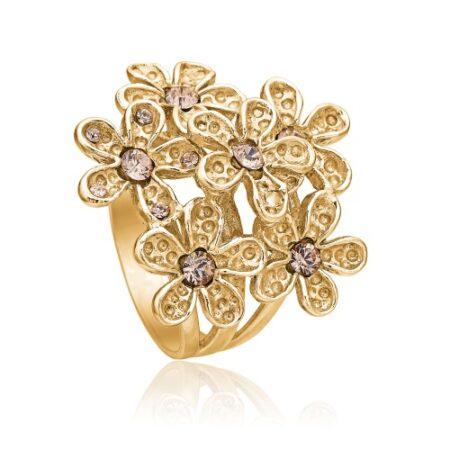 Priesme blomster ring i forgyldt 925 Sterling sølv med de smukkeste pudder Swarovski krystaller