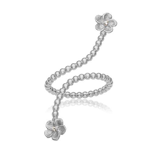 Snoet slange ring i klassisk 925 Sterling sølv med blomster i enderne