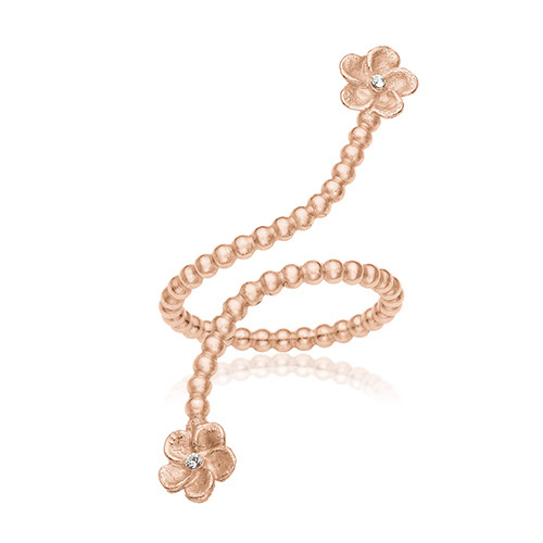 Slange ring i rosa forgyldt 925 Sterling sølv med blomster. Denne slange ring snor sig elegant op ad fingeren