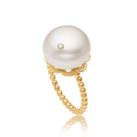 Diamant ring fra Priesme i forgyldt Sterling sølv med stor flot South Sea perle med isat brilliant