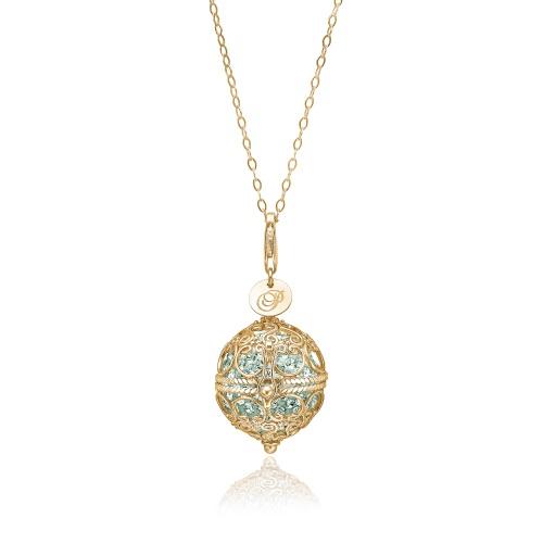 Priesme Change Your Style halskæde. Halskæde med stor smuk filigran kugle i 24 karat forgyldt 925 Sterling sølv