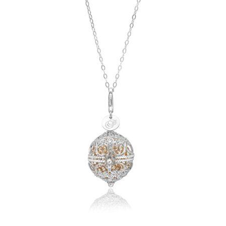 Priesme Change Your Style halskæde i 925 Sterling sølv med guld farvede Swarovski krystaller