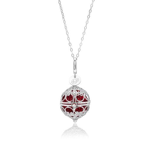 Priesme Change Your Style halskæde i 925 Sterling sølv med røde Swarovski krystaller