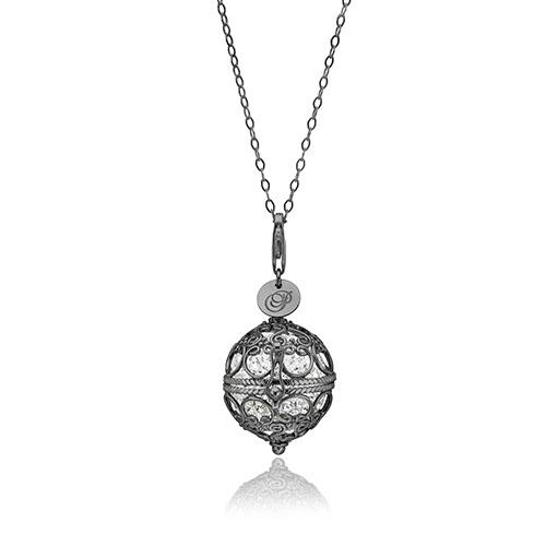 Priesme Change Your Style halskæde i sort rhodineret 925 Sterling sølv med klare Swarovski krystaller