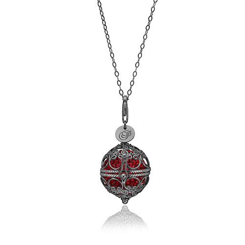 Priesme Change Your Style halskæde i sort rhodineret 925 Sterling sølv med røde Swarovski krystaller