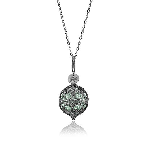 Priesme Change Your Style halskæde i sort rhodineret 925 Sterling sølv med mint grønne Swarovski krystaller