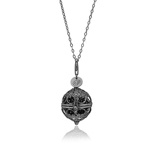 Priesme Change Your Style halskæde i sort rhodineret 925 Sterling sølv med sorte Swarovski krystaller