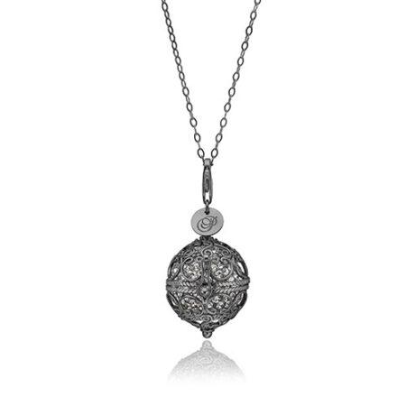 Priesme Change Your Style halskæde i sort rhodineret 925 Sterling sølv med grå Swarovski krystaller