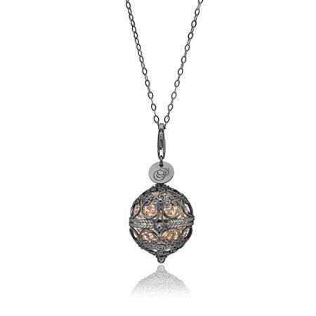 Priesme Change Your Style halskæde i sort rhodineret 925 Sterling sølv med guld farvede Swarovski krystaller