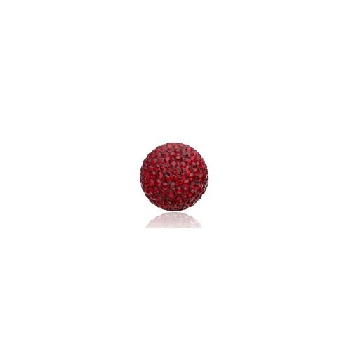 Priesme kugle på 16 mm med røde Swarovski krystaller