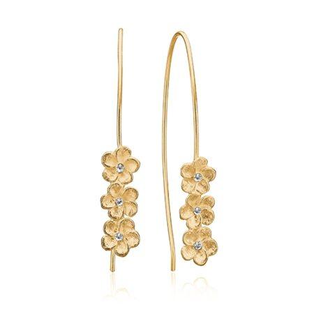 Ørebøjler med 3 smukke blomster i forgyldt sølv