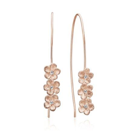 ørebøjler med 3 smukke blomster i rosa forgyldt sølv