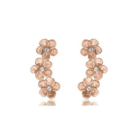 Blomster ørestikker i rosa forgyldt 925 sterling sølv
