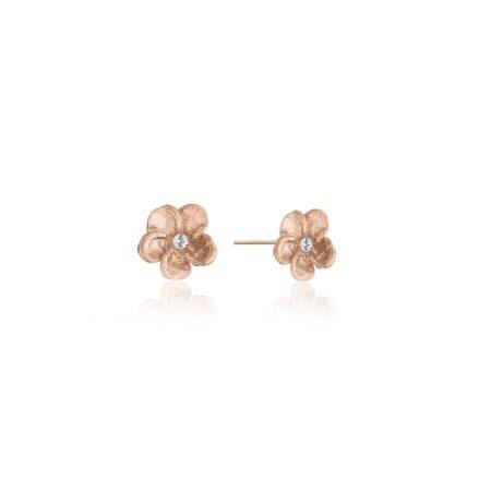 Ørestikker med smuk lille blomst i rosa forgyldt 925 Sterling sølv