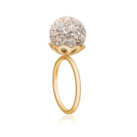 Smuk forgyldt sølv ring med stor kugle fyndt med Swarovski krystaller