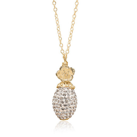 Priesme Silk halskæde i forgyldt sølv med smuk oval kugle