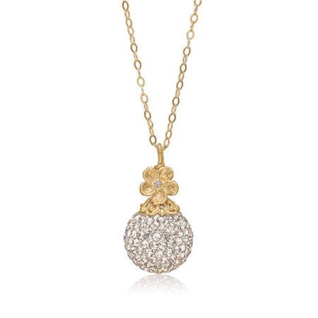 Forgyldt sølv halskæde med smuk kugle og blomst