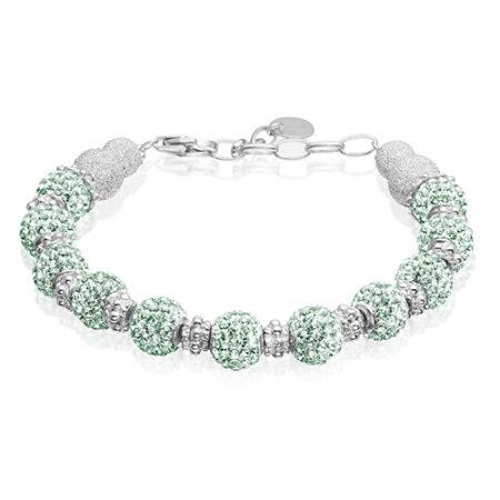Sølv armbånd med mint grønne Swarovski krystaller