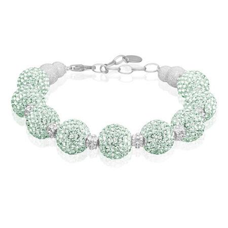 Sterling sølv armbånd med mint grønne Swarovski krystaller