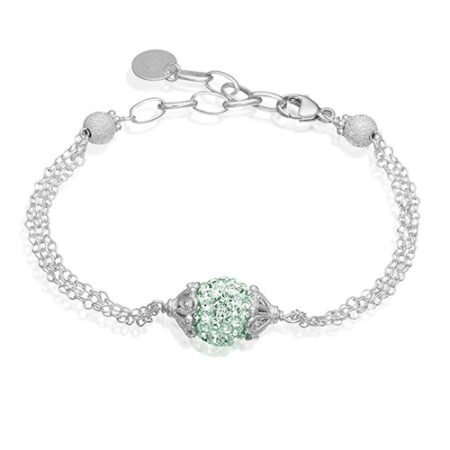 Sølv armbånd med smuk kugle med Swarovski krystaller