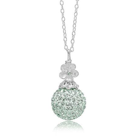 Priesme sølv halskæde med stor kugle med mint grønne Swarovski krystaller