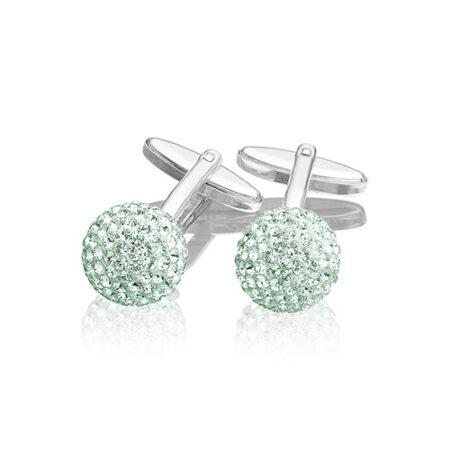 Manchetknapper i sølv med mint grønne Swarovski krystaller