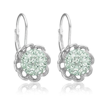 Sølv øreringe med mint grønne Swarovski kugler