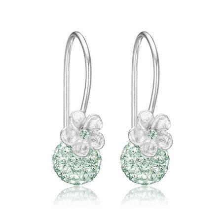 Sølv øreringe med mint grønne Swarovski krystaller