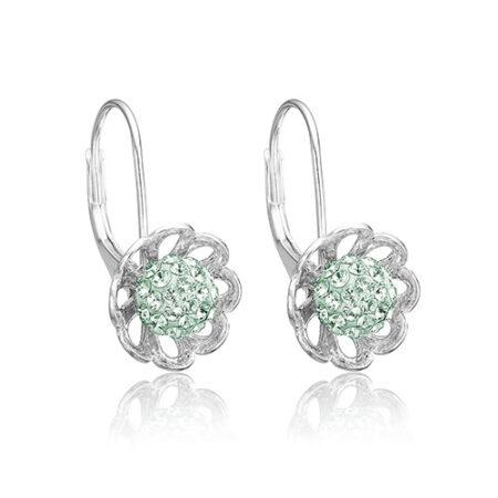 Sølv blomster øreringe med mint grønne Swarovski krystaller